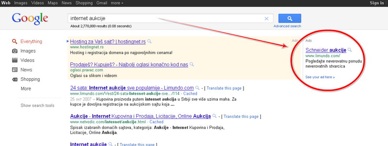 google adwords schneider aukcije