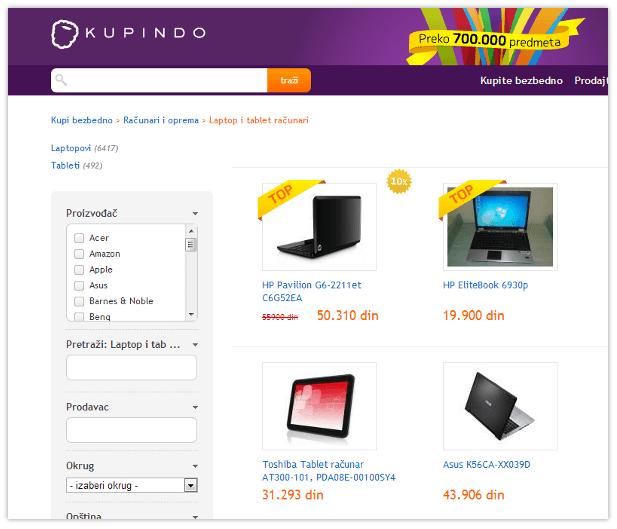 TOP u kategoriji - Kupindo.com