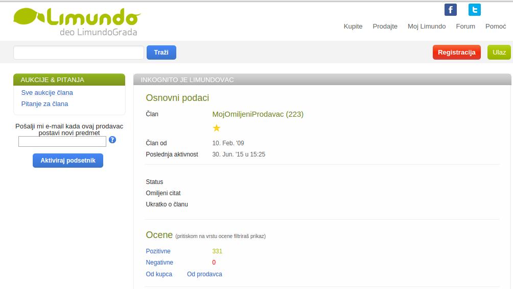 E-mail podsetnik Limundo profil