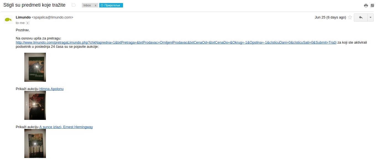 E-mail obaveštenje omiljeni prodavac